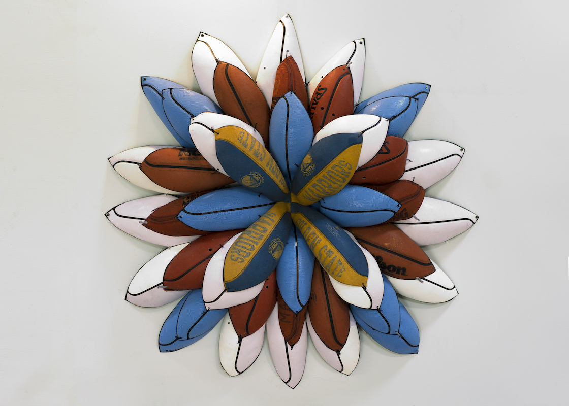 Basketball flower looking wall hanging